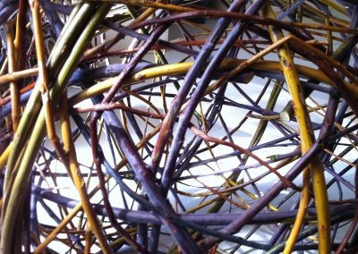 A photograph of a random weave sphere hand crafted by Christiane Gunzi