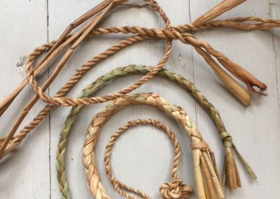 A photograph of rush cordage handle samples hand crafted by Christiane Gunzi